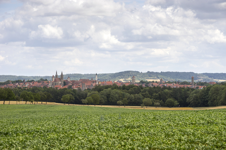 Street view of Rothenburg ob der Tauber, a well-preserved medieval old town in Middle Franconia in Bavaria on popular Romantic Road through southern Germany.