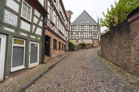 Street view of a medieval town Gelnhausen in Hesse, Germany. Stok Fotoğraf