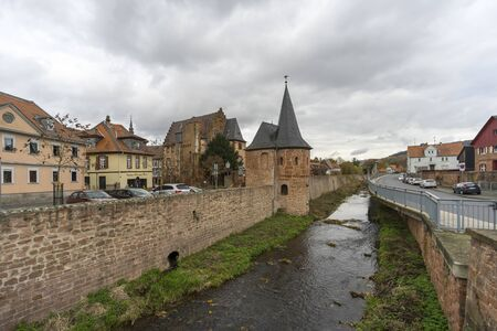 Street view of a medieval town Buedingen in Hesse, Germany.