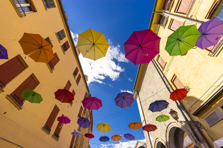 Multi-colored umbrellas street decoration