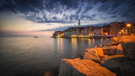 Spectacular romantic old town of Rovinj at evening Stok Fotoğraf