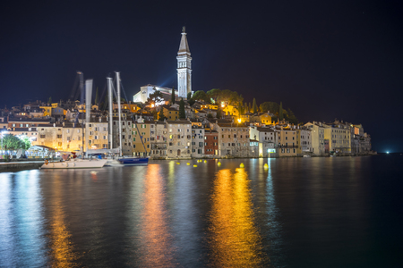 Spectacular romantic old town of Rovinj at evening Stok Fotoğraf
