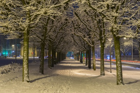 Winter alley in Hannover. Germany