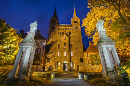 Hoexter, Germany - October 30, 2016: Imperial Abbey of Corvey in North Rhine-Westphalia, Germany