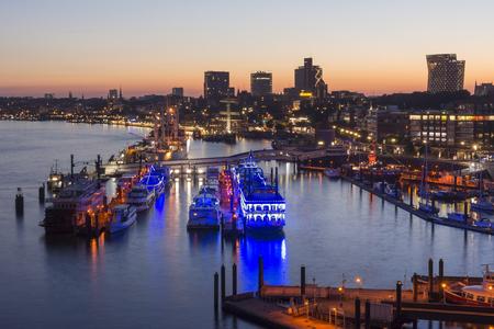 Hamburg, Germany - June 18, 2017 Hamburg harbor at summer evening