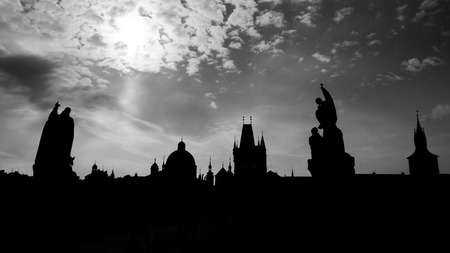 Praha silhouette, View from Charles Bridge