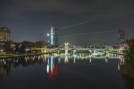 Frankfurt am Main at evening. Main skyline during twilight blue hour.