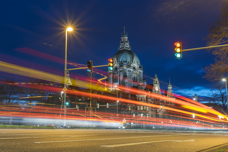Hanover City Hall at evening. Lower Saxony.