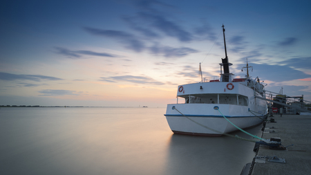 The passenger ship at the mooring in Bremerhaven on the river Weser. Germany