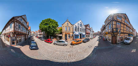 Celle, Germany - June 01, 2009: 360 degree panoramic view of historical half-timbered houses in the old city of Celle in Germany
