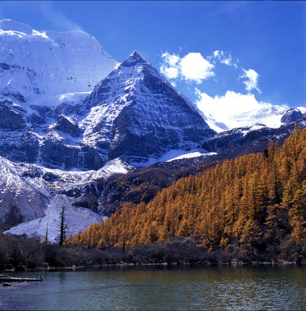The Lake And Snow Peak In Daocheng,Sichuan Province,China