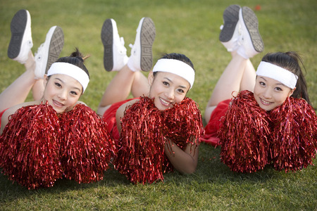 black cheerleader: Three Girl Rooters LANG_EVOIMAGES