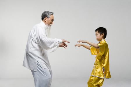 An Old Man Teaching A Boy Taiji