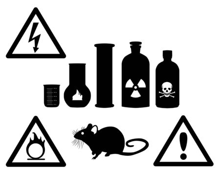 Black chemical bottles on white background with  danger signs on them Stock Vector - 16449809