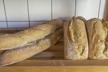 Exposed bread in a bakery