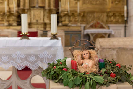 Christian altar with Jesus child figure