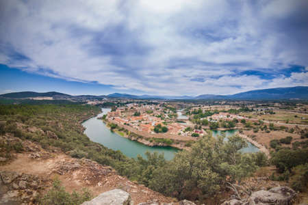 Landscape view of Buitrago de Lozoya, Madrid, Spain Banco de Imagens