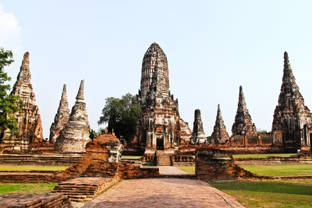 monument historical monument: Wat Chaiwattanaram,Ayuthaya. Stock Photo