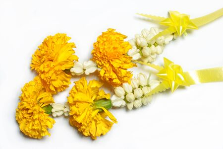 The Jasmine galand is use for give to buddha. Stock Photo