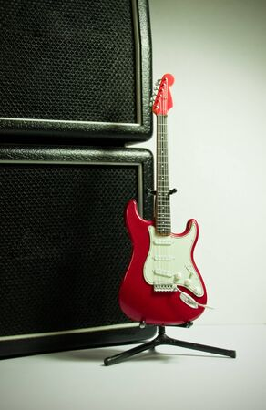strat: Red guitar model and the stack amplifier