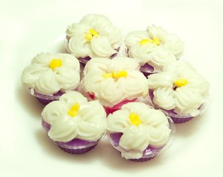 Thai dessert name Leum Kleun on white background