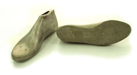Shoemaker aluminum last that use for making shoe in footwear manufacturing Stock Photo