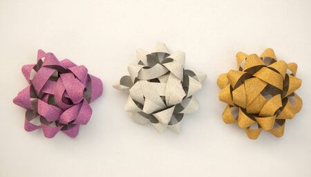 three ribbon bow made as flower for any gift decoration Stock Photo