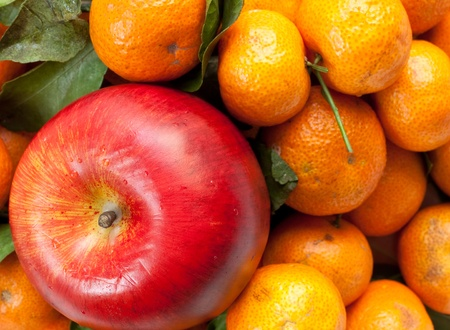 red apple and tangerine, a kind of orange from china