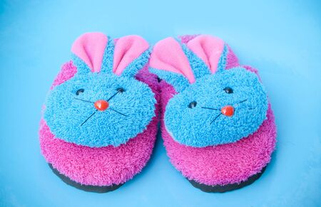 slipper that made as  pinkblue bunny