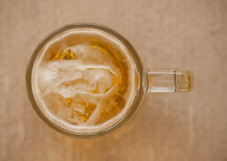 top view of a glass of thai beer with a few ice Stock Photo