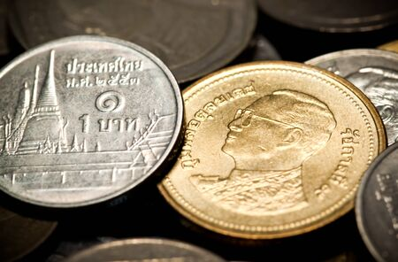 baht: two type of thai baht coin as silver and brass Stock Photo