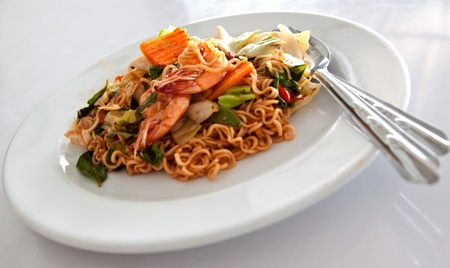 dish of spicy fried instant noodle with shrimp one of thai style food