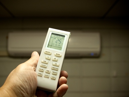 air conditioner remote control set as saving power temperature photo