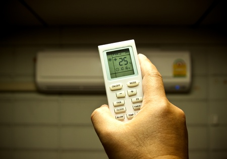 conditions: air conditioner remote control set as saving power temperature