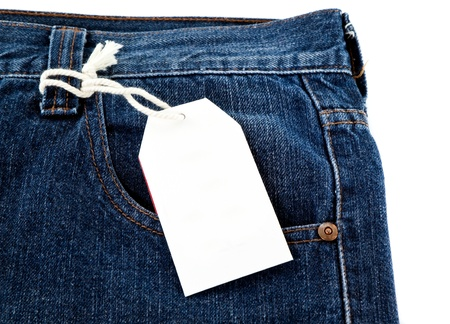 blank price tag on jeans