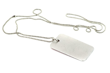 blank silver dog tag on white background