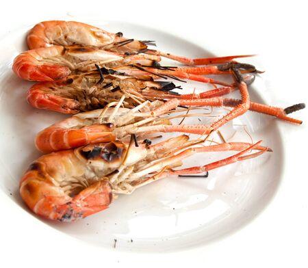 grilled shrimp on white dish