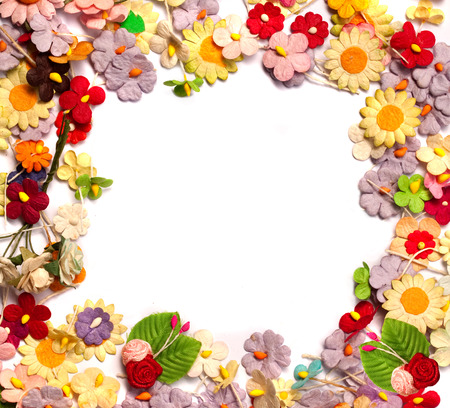 colorful of handicraft paper flower frame