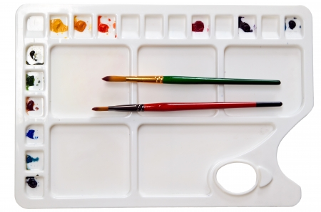 paintbrush and water color palette Stock Photo