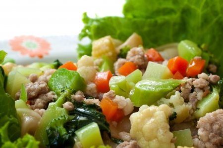 Stir-fried Fresh rice-noodles with pork and vegetable in thick sauce Stock Photo