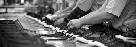 production line of footwear manufacturing Stock Photo