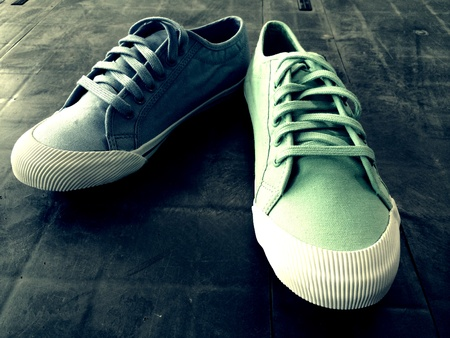 canvas: Pair of wash canvas shoe in different color Stock Photo