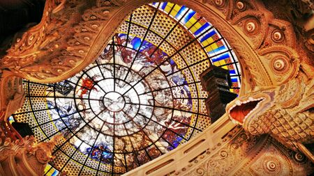 Roof and ceiling glass decoration