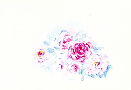 draft of water color painting as roses flower Stock Photo