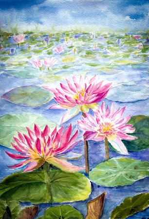 water color painting of lotus flower