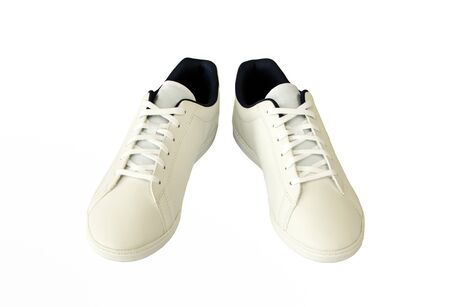 pair of white casual shoe on white background
