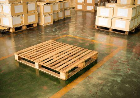 wooden pallet in warehouse