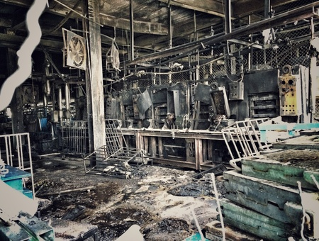 industrial: Abandoned building. After fire