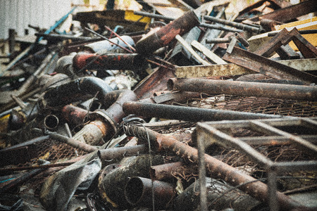 industrial noise: metal industrial waste from abandon industry with noise effect