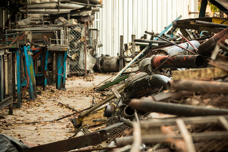 abandon: metal industrial waste from abandon industry Stock Photo